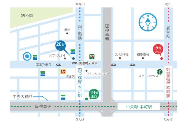 大阪クロススクエアアクセスマップ